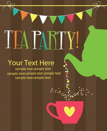 invitacion fiesta: fiesta del t� tarjeta de ilustraci�n vectorial de dise�o