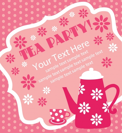 hot pink: tea party card design  vector illustration