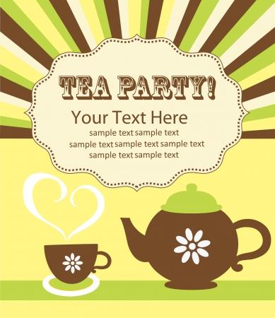 tea time card design  illustration Vector