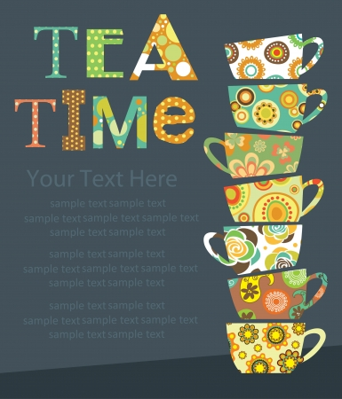 tea party card design  illustration Vector