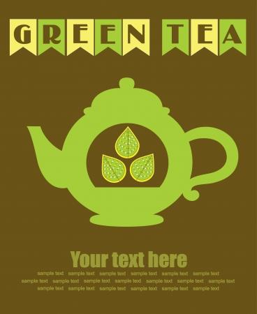 green tea card design  illustration Vector
