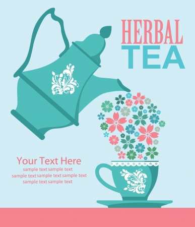 invitation party: herbal tea card design  illustration