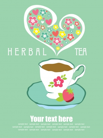 tea time card design  illustration Vector