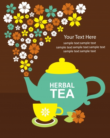 herbals: herbal tea card design  illustration