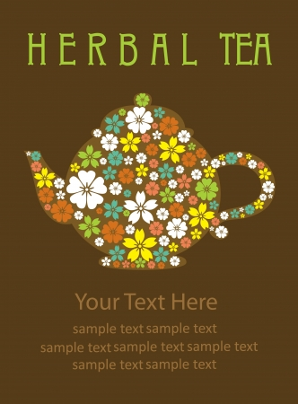 tea time: herbal tea card design  illustration