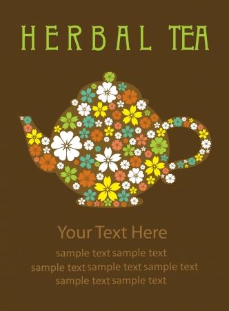 afternoon: tarjeta de t� de hierbas ilustraci�n dise�o