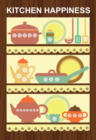 kitchen happiness card design  illustration Vector