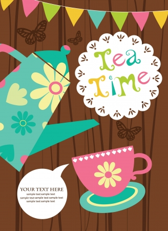 party time: herbal tea card design  illustration