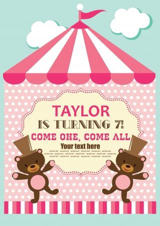 entertainment tent: fun circus card  illustration