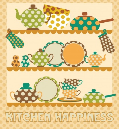 kithen happiness card design  illustration Vector