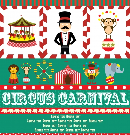 animales de circo: divertida ilustraci?e la tarjeta de circo