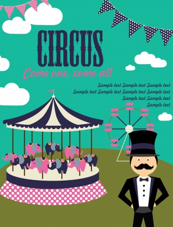 birthday celebration: fun circus card  illustration