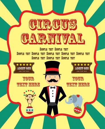 animales de circo: divertida ilustraci?n de la tarjeta de circo