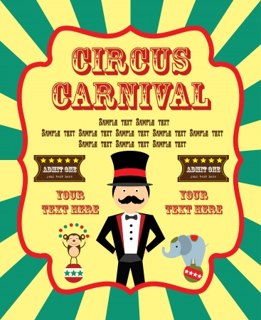 cartoon circus: fun circus card  illustration