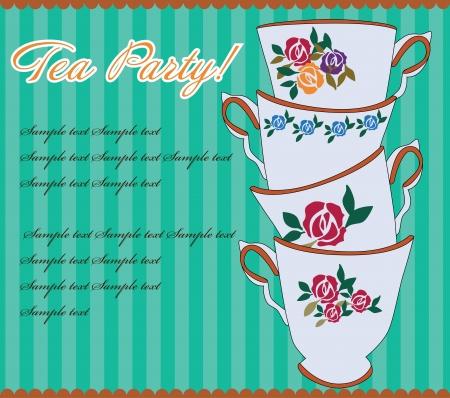 tea party: tea party card  illustration