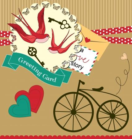 old envelope: cute swallow  card design  vector illustration Illustration