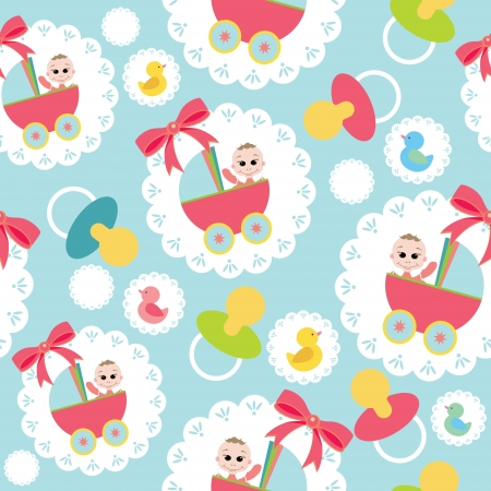 sweet baby girl: baby seamless pattern  vector illustration Illustration