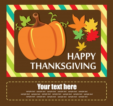 thanksgiving dinner: happy thanksgiving day card  vector illustration
