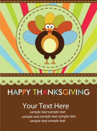 dinner party: happy thanksgiving day card  vector illustration