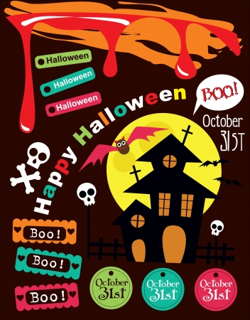 happy halloween scrapbook collection  vector illustration Vector
