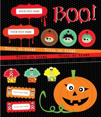 halloween kids: happy halloween scrapbook collection  vector illustration