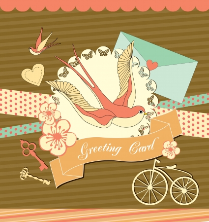 old envelope: cute retro card with swallow  vector illustration Illustration