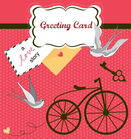 vintage postcard: cute retro card with swallow  vector illustration Illustration
