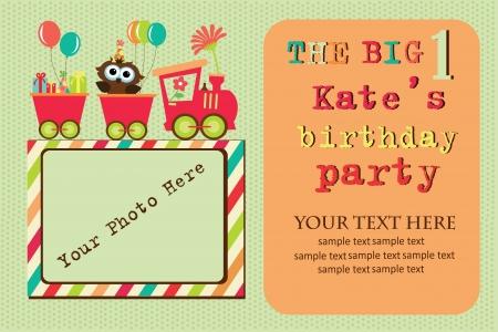 birthday train: kid invitation card design. vector illustration