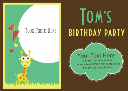and invites: kid invitation card design. vector illustration