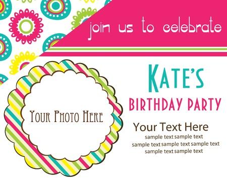 congratulate: kid invitation card design. vector illustration