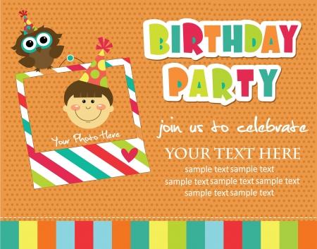 birthday party kids: kid invitation card design. vector illustration