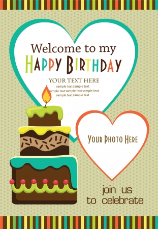 birthday party: kid invitation card design. vector illustration