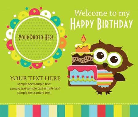 happy birthday baby: dise�o de tarjeta de invitaci�n de ni�o. ilustraci�n vectorial Vectores
