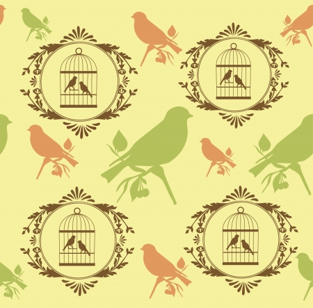 canary bird: romantic pattern with canary bird. vector illustration Illustration