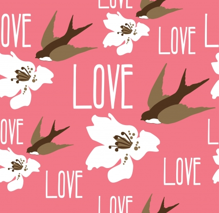 romantic pattern with swallow. vector illustration Vector