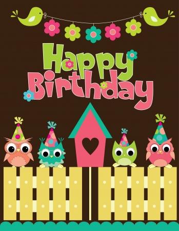 happy birthday cartoon: happy birthday card design. vector illustraton