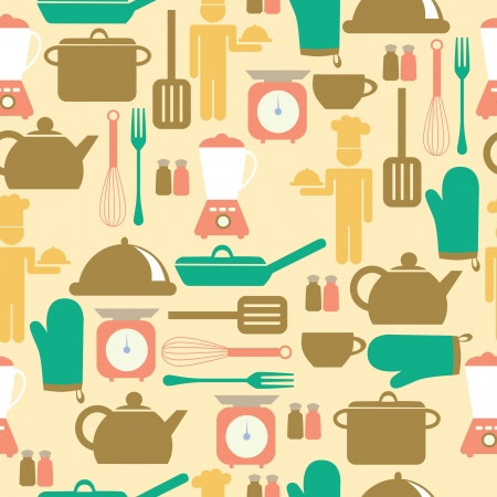 wares: kitchen seamless pattern. vector illustration Illustration