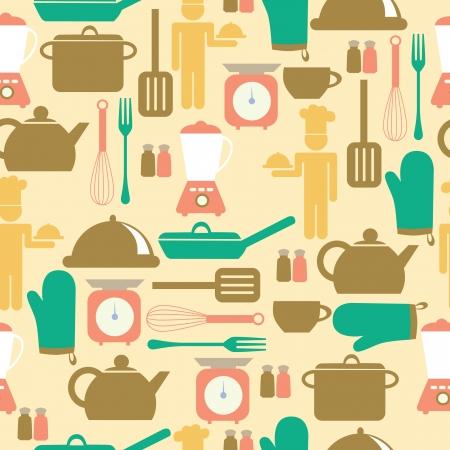 kitchen ware: kitchen seamless pattern. vector illustration Illustration