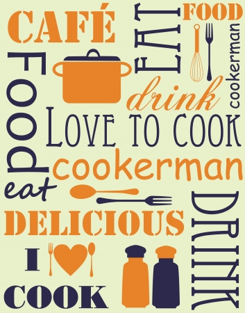 kitchen ware: cook card. vector illustration
