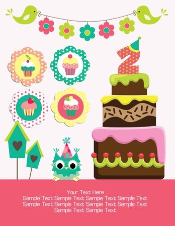 diseño de la tarjeta de cumpleaños feliz. vector illustraton