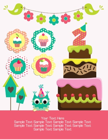 happy birthday card design. vector illustraton Vector