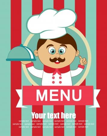 italian kitchen: cook card. vector illustration