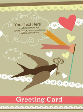 cute swallow  card design  vector illustration Vector