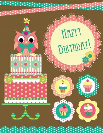muffin: happy birthday card design  vector illustraton Illustration