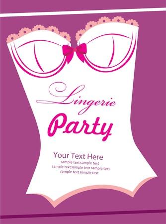 lace bra: lingerie card  vector illustration