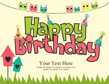 feliz cumpleaños tarjeta de diseño vectorial illustraton