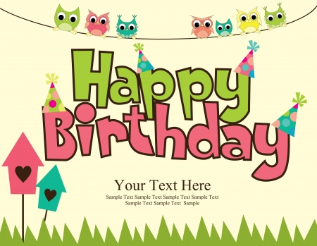 cute text box: happy birthday card design  vector illustraton Illustration
