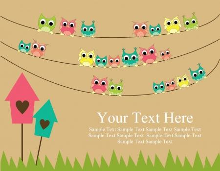 hibou: carte mignonne illustration vectorielle de voeux gesign