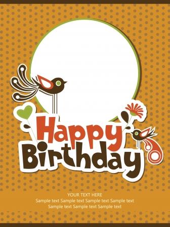 happy birthday card: cute floral card design. vector illustration Illustration