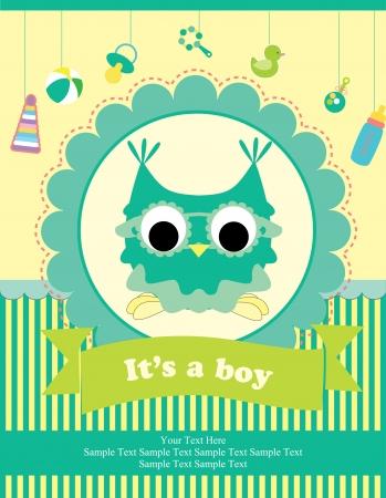 bebe azul: dise�o de tarjeta de baby shower. ilustraci�n vectorial
